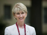 Ohio State President Kristina M. Johnson, seen touring campus on her first day on the job last Sept. 1, wants OSU to be the best land-grant university in the nation. COURTNEY HERGESHEIMER/DISPATCH