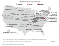 Longest average commute town in every state map Business Insider