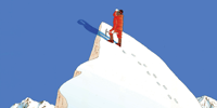 Illustration by Guy Billout - Cartoon Mountain Climber at the top of a mountain