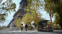 Artist's conception of a visit to the Eiffel Tower in a version of the JCDecaux City Provider   Citroen photos