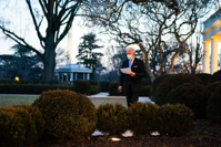 President Joe Biden looks over his notes as he walks through the Rose Garden of the White House Monday, Feb. 8, 2021, en route to the Residence. (Official White House Photo by Adam Schultz)