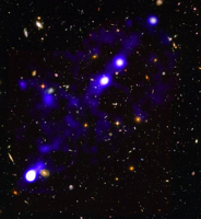 Hydrogen filaments (in blue). (Roland Bacon/David Mary/ESO/NASA)