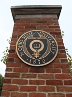The Ohio State seal displayed at an entrance to campus. DOUG BUCHANAN