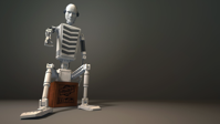 Fragile 3d Robot Droid Grey Sitting Wallpaper