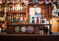 bar with beer taps