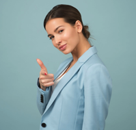 Woman showing confidence