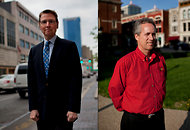 Lexington's mayor Jim Gray, left, and Louisville's mayor, Greg Fischer, outside their respective offices. The two, elected on the same day in November 2010, and both Vanderbilt alumni, are collaborating to create a super-region model linking the two cities, and strengthening their economies.