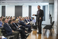 Venture capitalist Andrew Kelly from BioPacific Partners addresses the 400M Ag Innovation forum in Toowoomba. Picture: University of Southern Queensland Photography.