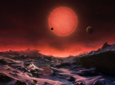 This artist's illustration depicts an imagined view from the surface of one of the three newfound TRAPPIST-1 alien planets. The planets have sizes and temperatures similar to those of Venus and Earth, making them the best targets yet for life beyond our solar system, scientists say. Credit: ESO/M. Kornmesser - See more at: http://www.livescience.com/54636-3-alien-planets-could-support-life.html?cmpid=NL_LS_weekly_2016-5-04#sthash.5EFQU7Bl.dpuf