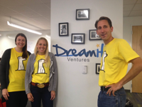 Left to right: Jodie Sweitzer, Karen Griffith Gryga and Steve Welch of DreamIt Ventures in the accelerator's University City HQ. (Photo by Juliana Reyes)