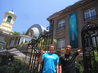 Armand Pizzicarola and Andrew Mewborn in front of the Startup Chile offices.