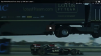 Watch a semi truck jump 83 feet over a Formula 1 car just for fun