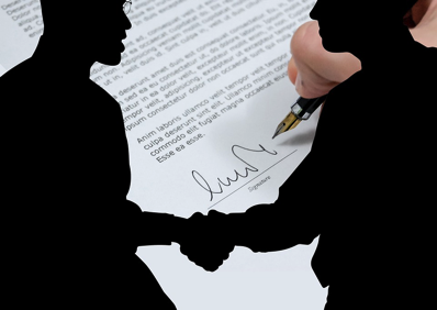 Man Silhouette Shaking Hands Contract