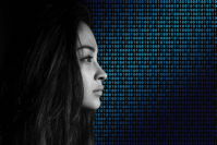 Binary Code Privacy Policy Woman Face View