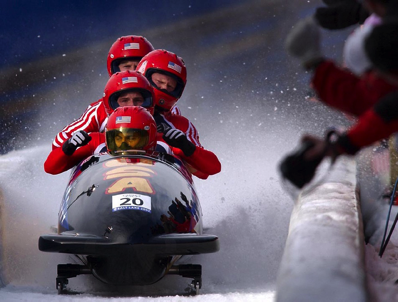 Bobsled Team Run Olympics Ice Competition Sport